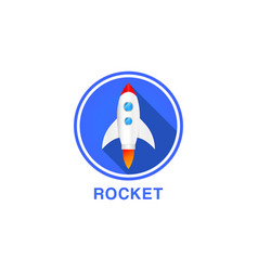 round flat icon rocket vector image