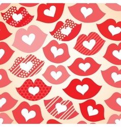 Seamless festive background with lips and hearts vector image
