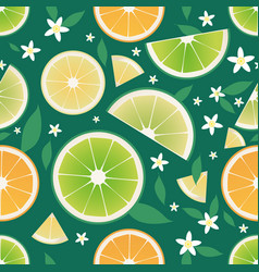 seamless pattern slices orange lemon lime vector image