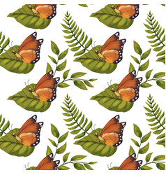 seamless pattern with cute 3d insect vector image
