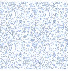 seamless pattern with cute cats line drawing vector image