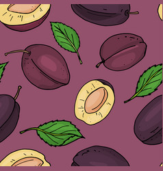 seamless pattern with prunes plums whole and vector image