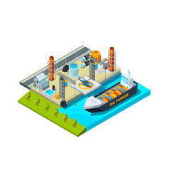 Seaport isometric cargo ship oil tanks seaside vector