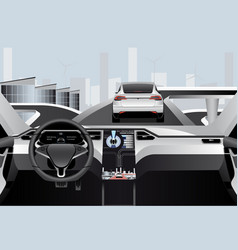 Self driving car on a road inside view vector