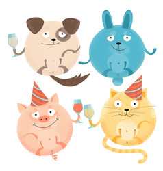 set 4 cheerful round animals on holiday with vector image