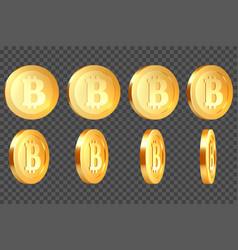 set of 3d metallic bitcoins vector image