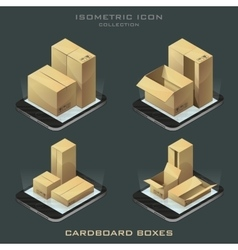 Set of dark isometric cardboard boxes vector