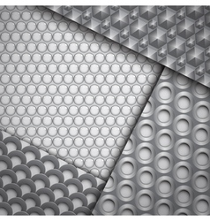 Set of several seamless carbon fiber patterns vector image vector image