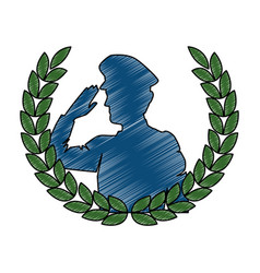 Silhouette military saluting with wreath vector