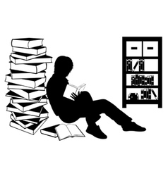 Silhouette of a girl reading a book vector