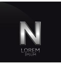 Silver N Letter emblem vector