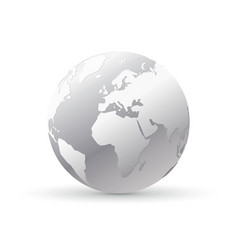 Silver world earth globe vector