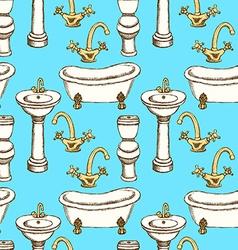 Sketch bathroom equipment in vintage style vector