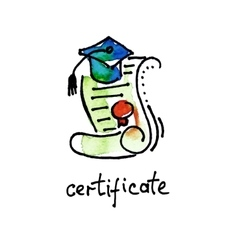 sketch watercolor icon of certificate diploma vector image