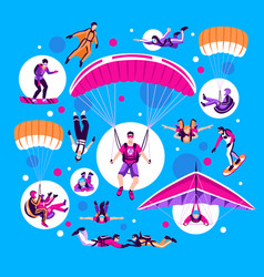 Skydiving and parachuting set vector