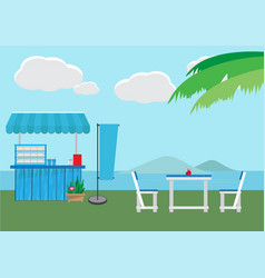 small shop with sea background vector image