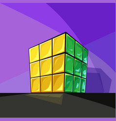 Solved rubiks cube cartoon style on violet vector