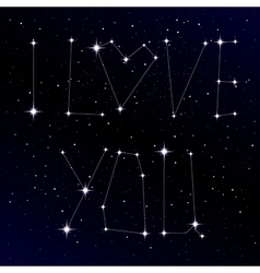 Starry love message as constellation vector