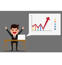 Successful business growth chart vector