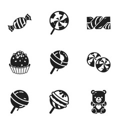 sugar candy icon set simple style vector image