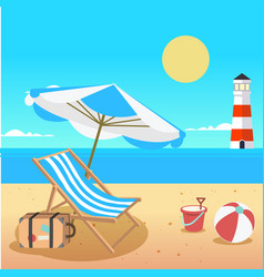summer beach umbrella chair beach ball lighthouse vector image