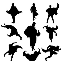 Superhero silhouettes set vector image