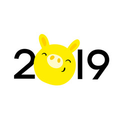 Symbol 2019 year in eastern calendar yellow pig vector