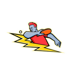 table tennis player lightning bolt mascot vector image