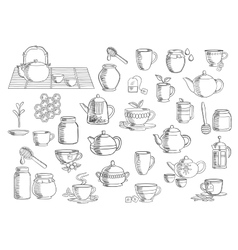 Tea and beverages hand drawn objects vector