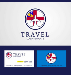 Travel herm creative circle flag logo and vector