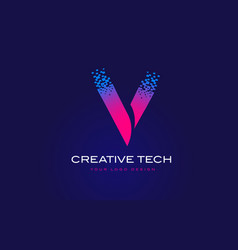 v initial letter logo design with digital pixels vector image