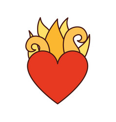 Virgin mary heart with flames vector