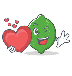 With heart lime mascot cartoon style vector