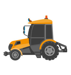 Yellow model of bulldozer close-up realistic vector