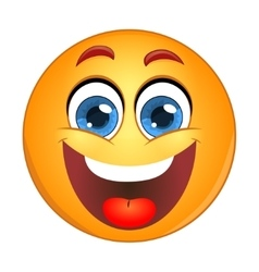 Yellow smiley laughing vector image