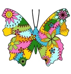 Butterfly silhouette colorful vector image vector image