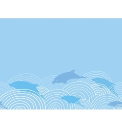Dolphines among waves horizontal seamless pattern vector image vector image