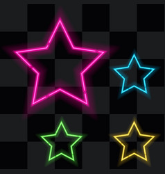glowing neon stars set of four vector image vector image