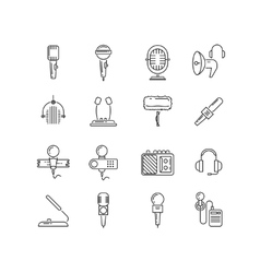 Microphone speaker line icons vector image