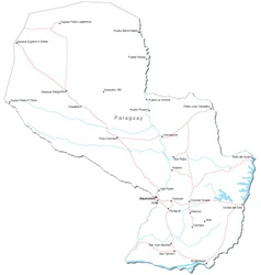 Paraguay Black White Map vector image
