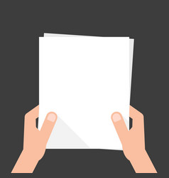 two hands holding white sheet vector image vector image
