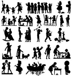 Children silhouettes children playing vector