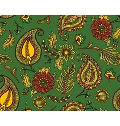 Damask seamless pattern with flowers in Indian vector image