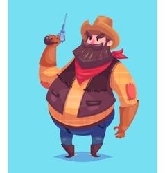 Funny of cowboy cartoon character vector image