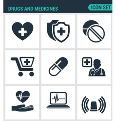 Set of modern icons Drugs and medicines vector image vector image