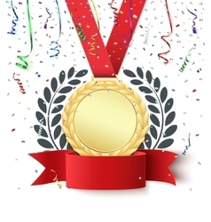 Blank medal and red ribbon vector image