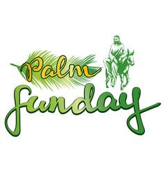 palm sunday jesus christ rides on a donkey into vector image