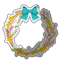 Sticker circular border with yellow flowers and vector