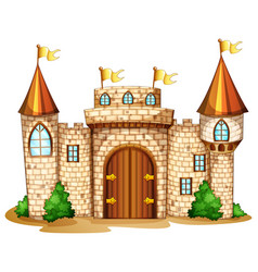 castle towers with yellow flags vector image vector image