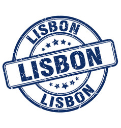 Lisbon blue grunge round vintage rubber stamp vector